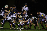 Photo: Paul Thomas/Richard Lane Photography. Sale Sharks v London Wasps. Aviva Premiership. 24/02/2012. Sale's Andy Powell in the thick of the action.
