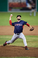 Lowell Spinners relief pitcher Andrew Politi (63) delivers a pitch during game against the Batavia Muckdogs on July 14, 2018 at Dwyer Stadium in Batavia, New York.  Lowell defeated Batavia 8-4.  (Mike Janes/Four Seam Images)