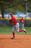 Canada Junior National Team Leroux Brando (11) throws to first base during an exhibition game against the Toronto Blue Jays on March 8, 2020 at Baseball City in St. Petersburg, Florida.  (Mike Janes/Four Seam Images)