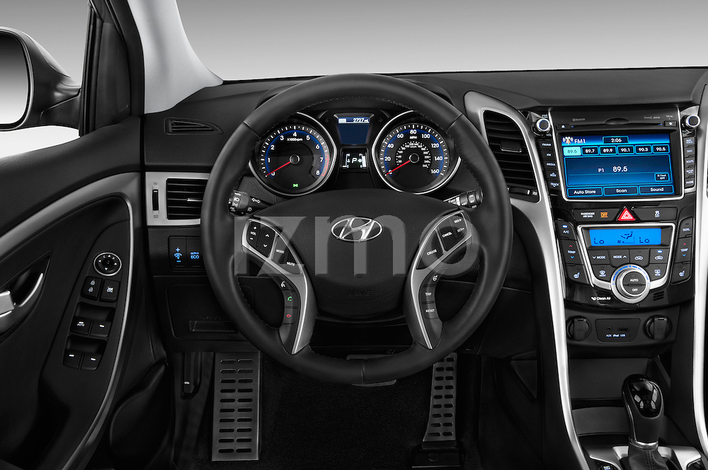 Steering wheel view of a 2013 Hyundai Elantra GT Hatchback