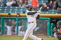 Chris Carter (33) of the Salt Lake Bees bats against the Sacramento River Cats at Smith's Ballpark on April 19, 2018 in Salt Lake City, Utah. Salt Lake defeated Sacramento 10-7. (Stephen Smith/Four Seam Images)
