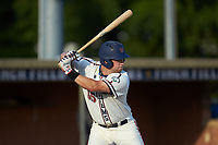 Jonathan Barham (35) (College of Charleston) of the High Point-Thomasville HiToms at bat against the Statesville Owls at Finch Field on July 19, 2020 in Thomasville, NC. The HiToms defeated the Owls 21-0. (Brian Westerholt/Four Seam Images)
