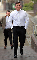Pictured: Finbar Hannaford arrives at Swansea Crown Court for his sentencing. Thursday 11 May 2017<br />Re: A man has admitted selling fake harnesses to amateur and semi-professional racing car drivers at Swansea Crown Court this week.<br />Finbar Hannaford, aged 22, from Pembrey, sold more than 300 of the enhanced seatbelt systems before Carmarthenshire County Council's trading standards officers stepped in.<br />The counterfeit harnesses bearing the Sabelt, Sparco and Takata brand names, were sold on eBay and Facebook, amongst a range of counterfeit car accessories and clothing.