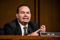 United States Senator Mike Lee (Republican of Utah) speaks on the fourth day of the Supreme Court confirmation hearing for nominee Judge Amy Coney Barrett before the Senate Judiciary Committee on Capitol Hill on October 15, 2020 in Washington, DC. With less than a month until the presidential election, President Donald Trump tapped Amy Coney Barrett to be his third Supreme Court nominee in just four years. If confirmed, Barrett would replace the late Associate Justice Ruth Bader Ginsburg.<br /> Credit: Samuel Corum / Pool via CNP /MediaPunch