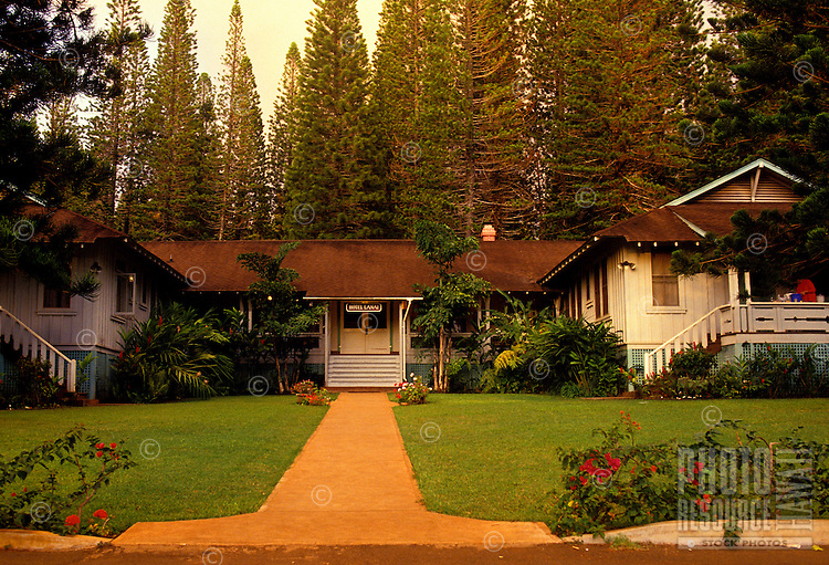 """Historic building """"""""Hotel Lanai"""""""" is situated among pine trees"""