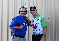 Jul, 22, 2012; Morrison, CO, USA: NHRA funny car driver Jack Beckman (right) with ESPN announcer Dave Rieff during the Mile High Nationals at Bandimere Speedway. Mandatory Credit: Mark J. Rebilas-