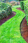 Grass Path in Garden.  Private garden professionally landscaped. Available exclusively from www.spacesimages.com