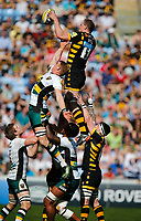 Photo: Richard Lane/Richard Lane Photography. Wasps v Northampton Saints. Aviva Premiership. 09/04/2017. Wasps' Kearnan Myall wins a lineout.