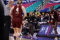 GREENSBORO, NC - MARCH 06: Head coach Joanna Bernabei-McNamee of Boston College during a game between Boston College and Duke at Greensboro Coliseum on March 06, 2020 in Greensboro, North Carolina.