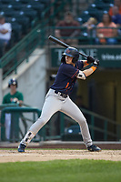 Nick Schnell (1) of the Bowling Green Hot Rods at bat against the Fort Wayne TinCaps at Parkview Field on August 20, 2019 in Fort Wayne, Indiana. The Hot Rods defeated the TinCaps 6-5. (Brian Westerholt/Four Seam Images)