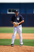 New York Yankees pitcher Jio Orozco (29) during a minor league Spring Training game against the Detroit Tigers on March 22, 2017 at the Yankees Complex in Tampa, Florida.  (Mike Janes/Four Seam Images)