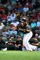 Pittsburgh Pirates outfielder Jaff Decker (14) during a Spring Training game against the Minnesota Twins on March 13, 2015 at McKechnie Field in Bradenton, Florida.  Minnesota defeated Pittsburgh 8-3.  (Mike Janes/Four Seam Images)