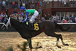 HOT SPRINGS, AR - JANUARY 16: Channing Hill aboard Uncontested #6 crossing the finish line in the the running of the Smarty Jones Stakes at Oaklawn Park on January 16, 2017 in Hot Springs, Arkansas. (Photo by Justin Manning/Elipse Sportwire/Getty Images)