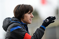 20180127 - AALTER , BELGIUM : Brugge's head coach Ingrid De Rycke pictured during the quarter final of Belgian cup 2018 , a womensoccer game between Club Brugge Dames and Standard Femina de Liege , in Aalter , saturday 27 th January 2018 . PHOTO SPORTPIX.BE | DAVID CATRY