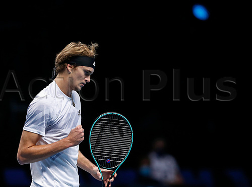 18th November 2020, O2, London, England; Alexander Zverev of Germany celebrates during the singles group match against Diego Schwartzman of Argentina at the ATP  finals in London