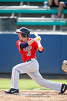 Caleb Wood #6 of the Gonzaga Bulldogs bats against the Loyola Marymount Lions at Page Stadium on March 28, 2013 in Los Angeles, California. (Larry Goren/Four Seam Images)