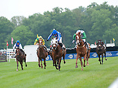 Baltic Shore (second from right) head on to wire in Queens Cup.