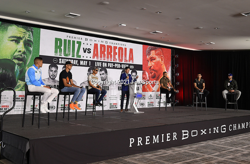 LOS ANGELES, CA - APRIL 29: (L-R) Jesus Ramos Jr., Sebastian Fundora, Omar Figueroa Jr., Ray Flores, Abel Ramos, Jorge Cota, and Javier Molina attend the undercard press conference for the Andy Ruiz Jr. vs Chris Arreola Fox Sports PBC Pay-Per-View in Los Angeles, California on April 29, 2021. The PPV fight is on May 1, 2021 at Dignity Health Sports Park in Carson, CA. (Photo by Frank Micelotta/Fox Sports/PictureGroup)
