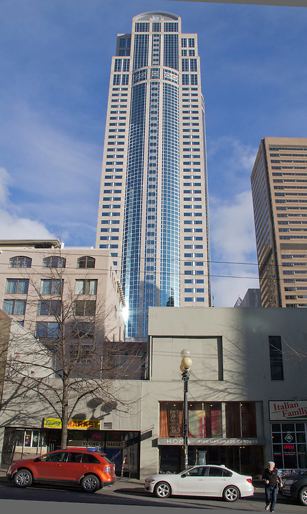 Seattle's 19th and 20th Century architecture, First Avenue between University Street and Seneca Street,  office buildings and storefronts dwarfed by Seattle's massive build-out of highrise office buildings, Seattle, Washington State, Pacific Northwest,