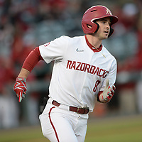 Arkansas left fielder Braydon Webb rounds the bases Thursday, April 1, 2021, after hitting a solo home run during the fourth inning of play against Auburn at Baum-Walker Stadium in Fayetteville. Visit nwaonline.com/210402Daily/ for today's photo gallery. <br /> (NWA Democrat-Gazette/Andy Shupe)
