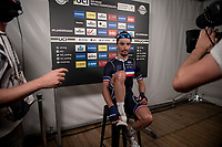 Julian Alaphilippe (FRA/Deceuninck - Quick Step) getting ready for his first flash interview on the live tv-feed<br /> <br /> Elite Men World Championships - Road Race<br /> from Antwerp to Leuven (268.3km)<br /> <br /> UCI Road World Championships - Flanders Belgium 2021<br /> <br /> ©kramon