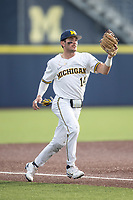 Michigan Wolverines /3b/ Christian Molfetta (14) XXX against the Michigan State Spartans on March 22, 2021 in NCAA baseball action at Ray Fisher Stadium in Ann Arbor, Michigan. Michigan State beat the Wolverines 3-0. (Andrew Woolley/Four Seam Images)