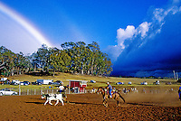 Roping in Olinda under a rainbow