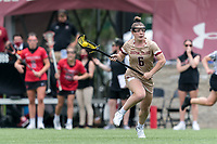 NEWTON, MA - MAY 14: Courtney Weeks #6 of Boston College brings the ball forward during NCAA Division I Women's Lacrosse Tournament first round game between Fairfield University and Boston College at Newton Campus Lacrosse Field on May 14, 2021 in Newton, Massachusetts.