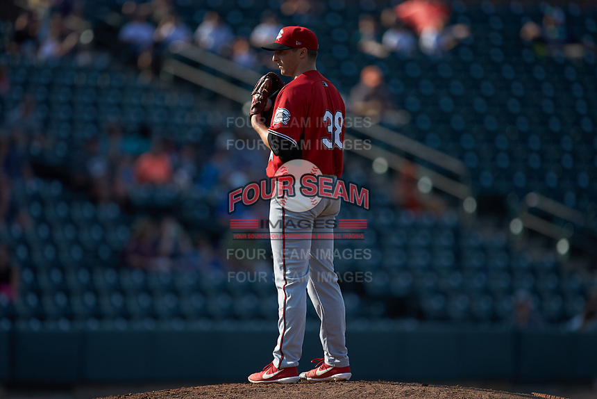 Carolina Mudcats starting pitcher Noah Zavolas (38) looks to his catcher for the sign against the Winston-Salem Dash at BB&T Ballpark on June 1, 2019 in Winston-Salem, North Carolina. The Mudcats defeated the Dash 6-3 in game one of a double header. (Brian Westerholt/Four Seam Images)