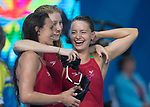 Wales Jazz Carlin,  Ellena Jones Kathryn Greenslade in good sprits after completing the Woman's 4x100m Team Relay<br /> <br /> *This image must be credited to Ian Cook Sportingwales and can only be used in conjunction with this event only*<br /> <br /> 21st Commonwealth Games - Swimming - Day 3 - 07\04\2018 - Gold Coast Optus Aquatic centre - Gold Coast City - Australia