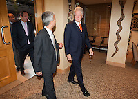United States Soccer president Sunil Gulati walk into an event with  former United States President Bill Clinton to speak with members of different FIFA international confederations in Sandhurst, Johannesburg, South Africa on June 24, 2010.  Clinton is the honorary chairman of the U.S. bid to host the World Cup in either 2018 or 2022.
