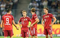 Discussion between the players left to right Robert LEWANDOWSKI (M), Joshua KIMMICH (M), Thomas MUELLER (MÃ_ller, M), Leon GORETZKA (M), Soccer 1. Bundesliga, 01.matchday, Borussia Monchengladbach (MG) - FC Bayern Munich (M) 1: 1, on August 13th, 2021 in Borussia Monchengladbach / Germany. #DFL regulations prohibit any use of photographs as image sequences and / or quasi-video # Â