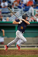 State College Spikes right fielder Justin Toerner (28) at bat during a game against the Batavia Muckdogs on July 7, 2018 at Dwyer Stadium in Batavia, New York.  State College defeated Batavia 7-4.  (Mike Janes/Four Seam Images)