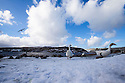 02/03/15  <br /> <br /> After a March snowfall, Geese do the goose-step by Winscar Reservoir near Dunford Bridge in the South Yorkshire Peak District. <br /> <br /> All Rights Reserved - F Stop Press.  www.fstoppress.com. Tel: +44 (0)1335 418629 +44(0)7765 242650