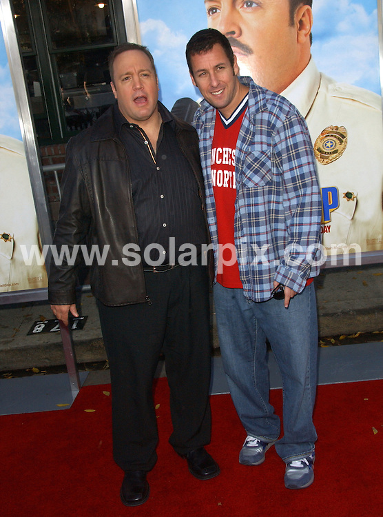 **ALL ROUND PICTURES FROM SOLARPIX.COM**.**SYNDICATION RIGHTS FOR UK, AUSTRALIA, DENMARK, PORTUGAL, S. AFRICA, SPAIN & DUBAI (U.A.E) ONLY**.The Mall Cop Los Angeles Premiere  Arrivals at the  Mann's Village Theatre in Westwood, California in the USA...This pic: Kevin James and Adam Sandler..JOB REF:8225-PHZ/ortega    DATE:10-01-09 .**MUST CREDIT SOLARPIX.COM OR DOUBLE FEE WILL BE CHARGED* *UNDER NO CIRCUMSTANCES IS THIS IMAGE TO BE REPRODUCED FOR ANY ONLINE EDITION WITHOUT PRIOR PERMISSION*