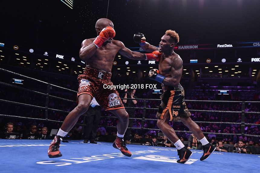 """BROOKLYN, NY - DECEMBER 22: (L-R) Tony Harrison fights Jermell Charlo during their WBC Super Welterweight Championship bout at the Fox Sports and Premier Boxing Champions  December 22 """"PBC on Fox"""" Fight Night at the Barclays Center on December 22, 2018 in Brooklyn, New York. (Photo by Anthony Behar/Fox Sports/PictureGroup)"""