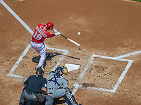 26 April 2014: Washington Nationals outfielder Kevin Frandsen at bat against the San Diego Padres at Nationals Park in Washington, DC. The Nationals shut out the Padres 4-0 to take the third game of their 4-game series. Mandatory Credit: Ed Wolfstein Photo *** RAW (NEF) Image File Available ***
