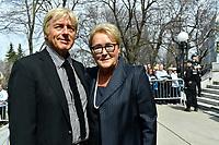 Former PQ Leader Pauline marois<br /> attend Jeanine Sutto funerals, April 10, 2017.<br /> <br /> PHOTO  :  Agence Quebec Presse