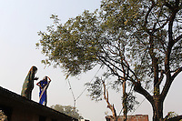 Local women stand on the roof of a farmhouse in a small village on the outskirts of Kanpur.