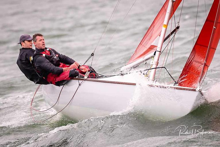 Squib regatta director Ian Travers and Keith O'Riordan sailing Outlaw in Kinsale
