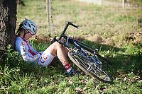 Gabriela Wojtyla (POL) exhausted post-race<br /> <br /> Elite Women's race<br /> Koppenbergcross 2015