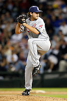 August 7, 2009:  Relief Pitcher Chris Perez (54) of the Cleveland Indians delivers a pitch during a game vs. the Chicago White Sox at U.S. Cellular Field in Chicago, IL.  The Indians defeated the White Sox 6-2.  Photo By Mike Janes/Four Seam Images