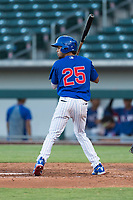AZL Cubs 1 third baseman Christopher Morel (25) at bat during an Arizona League playoff game against the AZL Rangers at Sloan Park on August 29, 2018 in Mesa, Arizona. The AZL Cubs 1 defeated the AZL Rangers 8-7. (Zachary Lucy/Four Seam Images)
