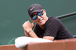 March 13, 2018: Coach Darren Cahill watches Simona Halep (ROU) defeat Qiang Wang (CHN) 7-5, 6-1 at the BNP Paribas Open played at the Indian Wells Tennis Garden in Indian Wells, California. ©Mal Taam/TennisClix/CSM