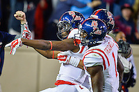 Ole Miss wide receiver Quincy Adeboyejo (8) celebrates a touchdown during second half of an NCAA football game, Saturday, October 11, 2014 in College Station, Tex. Ole Miss defeated Texas A&M 35-20. (Mo Khursheed/TFV Media via AP Images)