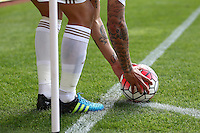 Jonjo Shelvey of Swansea tattoos   during the Barclays Premier League match Watford and Swansea   played at Vicarage Road Stadium , Watford