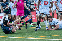 WASHINGTON, DC - FEBRUARY 16: Riekert Hattingh #8 of the Seattle Seawolves falls in for a try during a game between Seattle Seawolves and Old Glory DC at Cardinal Stadium on February 16, 2020 in Washington, DC.