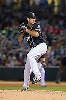 Charlotte Knights relief pitcher Ryan Kussmaul (31) in action against the Scranton/Wilkes-Barre RailRiders at BB&T Ballpark on July 17, 2014 in Charlotte, North Carolina.  The Knights defeated the RailRiders 9-5.  (Brian Westerholt/Four Seam Images)