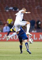 Pepe over Matia Vuoso. Real Madrid defeated Club America 3-2 at Candlestick Park in San Francisco, California on August 4th, 2010.