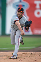 San Jose Giants starting pitcher Tyler Beede warms up in the bullpen prior to the game between the San Jose Giants and the Inland Empire 66ers at San Manuel Stadium on April 5, 2018 in San Bernardino, California. (Donn Parris/Four Seam Images)